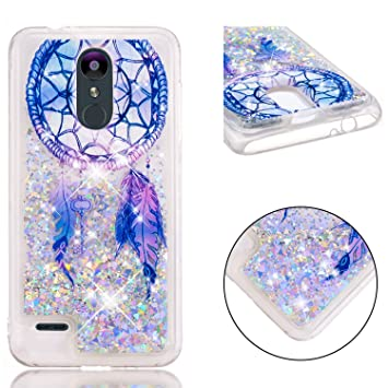 Funluna Funda LG K8 2018 / LG K9, Glitter Funda Líquido Moda 3D Bling Cubierta Flowing Brillar Flotante Sparkle Cristal Choque Absorción Cubierta Caja ...