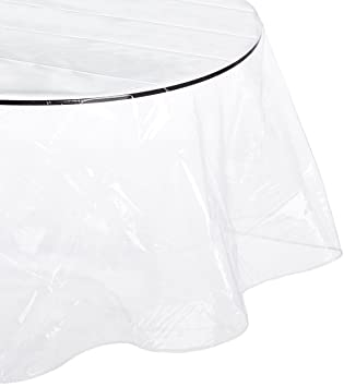 Carnation Home Fashions Round Vinyl Tablecloth Protector, 70 Inch