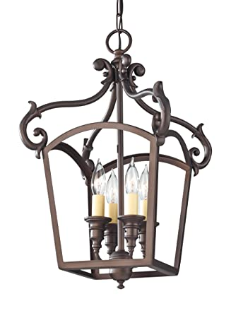 Feiss F2801 4ORB Luminary 4-Light Hall Chandelier, Oil Rubbed Bronze