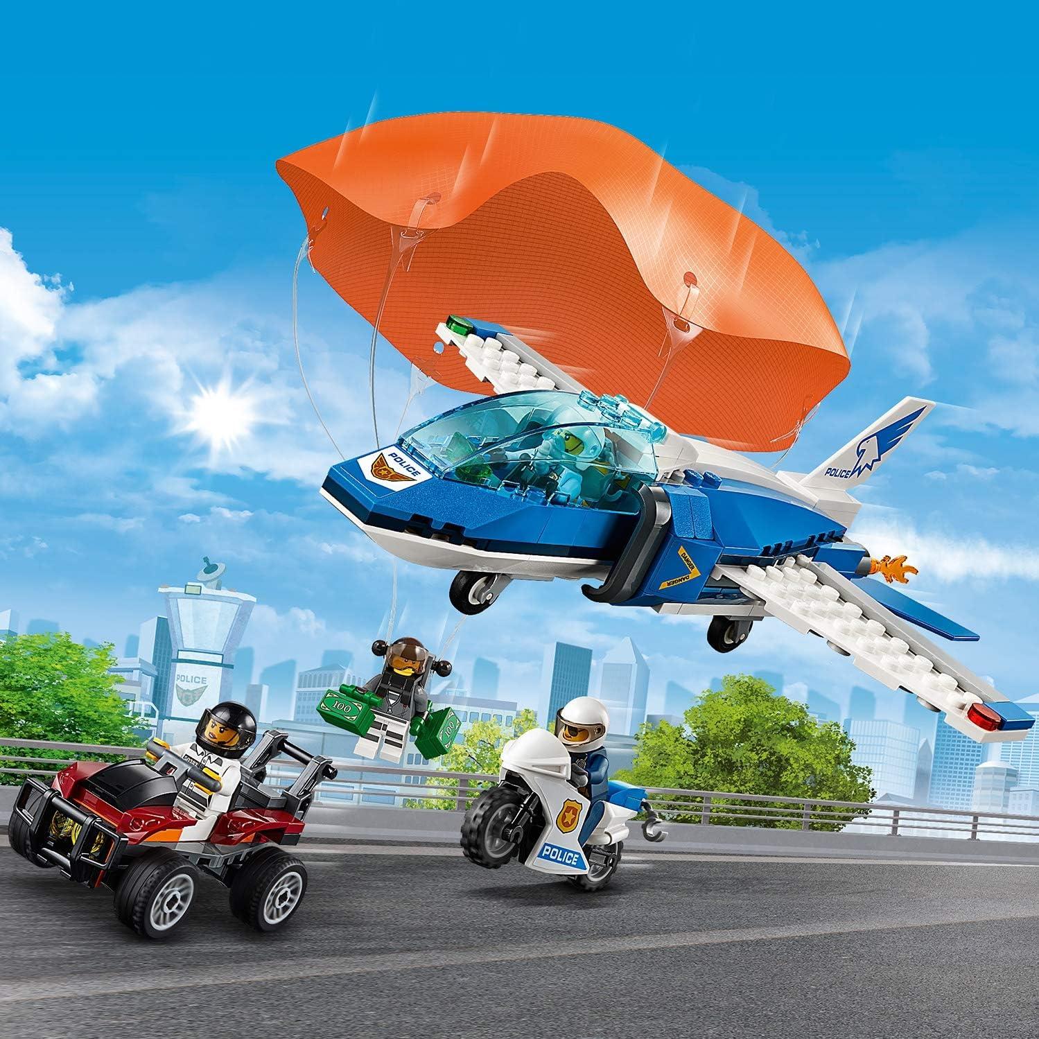 LEGO City Police Sky Police Parachute Arrest Playset, Toy Jet & Buggy Car, Police Toys for Kids