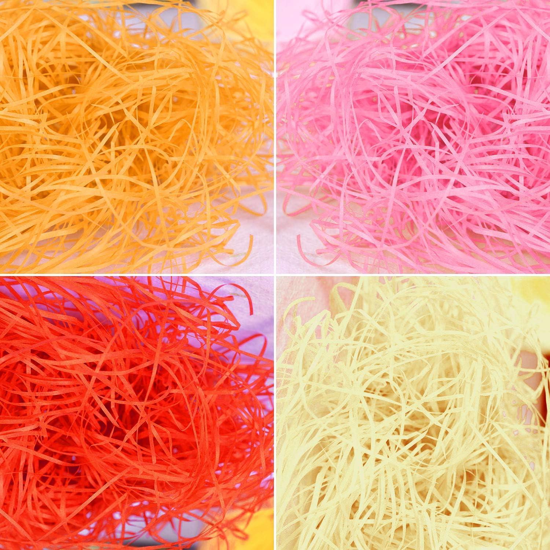 160G Red Decoration Hamper Filling Basket Filling Beige Yellow Keleily Shredded Tissue Paper 8 Pack Shredded Paper Easter Grass for Gift Packaging Pink
