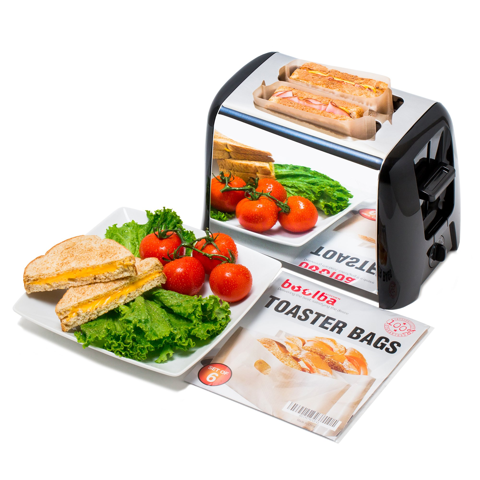 Toaster Bags (Set of 6) by Boolba 100% Non Stick and Reusable Easy To Clean Perfect For Sandwiches Hot Dogs Chicken Fish Vegetables Panini & Garlic Toast by boolba KITCHEN (Image #2)