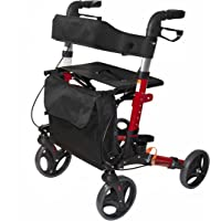 AdirMed Four Wheel, Euro Style, Easey to Fold Rollator Walker with Pouch and Cane Holder - Red