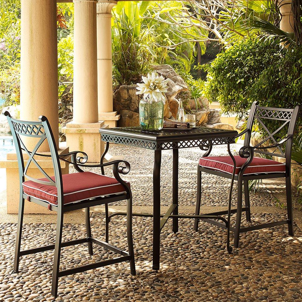Amazoncom Crosley Furniture Portofino Piece Outdoor Aluminum - Outdoor bistro table set