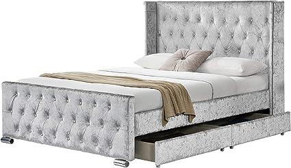 Somier de cama de terciopelo con almacenamiento Elizabeth, tapizado con 4 cajones en los laterales con tela Chesterfield, doble 1,4 m, king 1,5 m, de ...