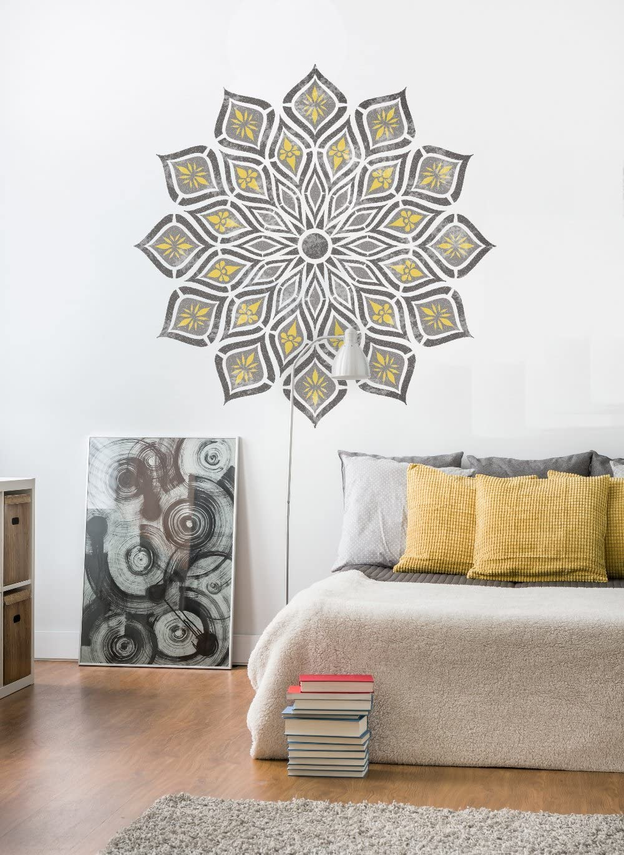 50cm KANPUR Mandala Wand M/öbel Fu/ßboden Schablone f/ür Malerei