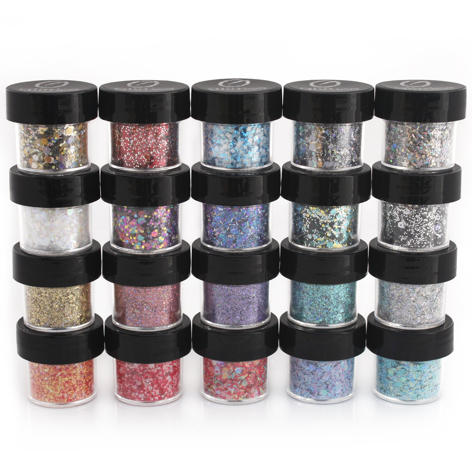 GLITTIES - (20 PK) - Custom Mixed Glitter - Great for Nail Art Polish, Gels, Art and Crafts, Paints & Acrylics Supplies - Includes Solvent Resistant, Powder, Hexagon, Holographic, Matte - (200 Grams) by Glitties