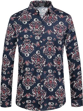 SSLR Camisa para Hombre Manga Larga Casual Estampdado Straight Fit