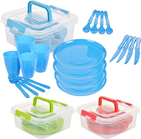 Cups Green Storage Cutlery Picnic or Camping Set 21 Piece Set Plastic Plates