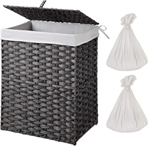 Greenstell Handwoven Laundry Hamper with 2 Removable Liner Bag, Synthetic Rattan Laundry Basket with Lid and Handles, Foldable and Easy to Install Gray (Standard Size)