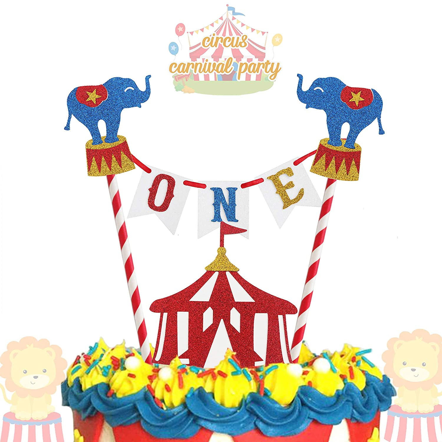 Magnificent Circus Carnival Theme Cake Topper 1St Birthday Circus Theme Photo Personalised Birthday Cards Bromeletsinfo