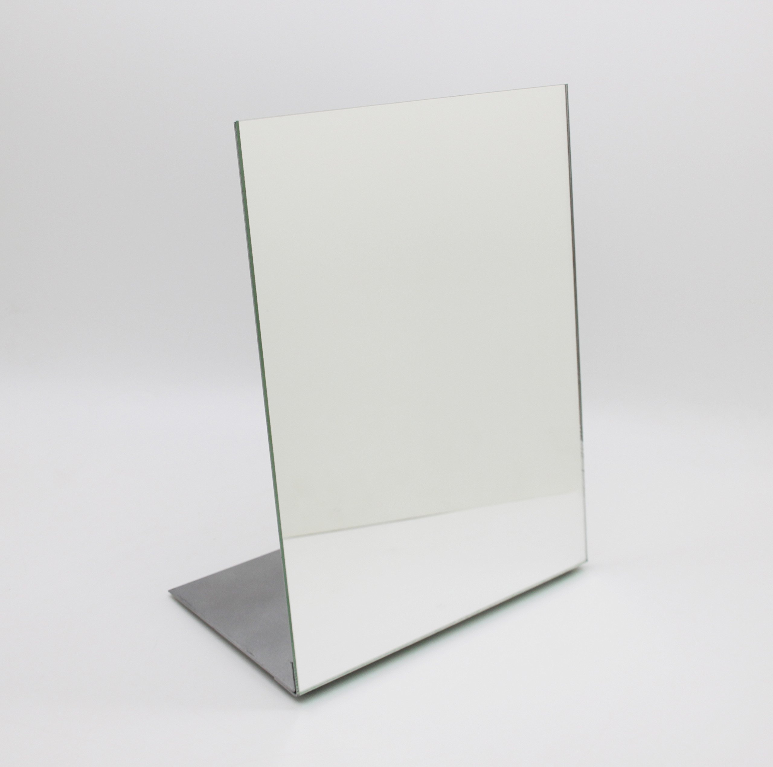 "FixtureDisplays 8.5x10.8"" Metal Retail Make-up Glass Mirror 15948! - FixtureDisplays 8.5 x 11"" Self-Portrait Slanted Metal Retail Make up Glass Mirror. Use at home,trade shows, office, retail stores for make up or jewelry, spas! This metal/glass mirror weighs 3.3 lbs. Easily assembled or to knock down for travel. An end to the problems with hand-held or flimsy, small mirrors that won't stay straight. 8.5"" x 11"" glass mirror mounted on carbon steel frame. Steel is powder coated silver in color. Steel base is 4.5"" wide for superior stability. Leans slightly (78 degree) back for ease of observation. Overall dimmensions: 8.5"" W x 10.8"" H x 4.5"" depth. Shipping to Canada and Mexico: import duty and fees apply. - mirrors-bedroom-decor, bedroom-decor, bedroom - 8137VfV%2B9VL -"
