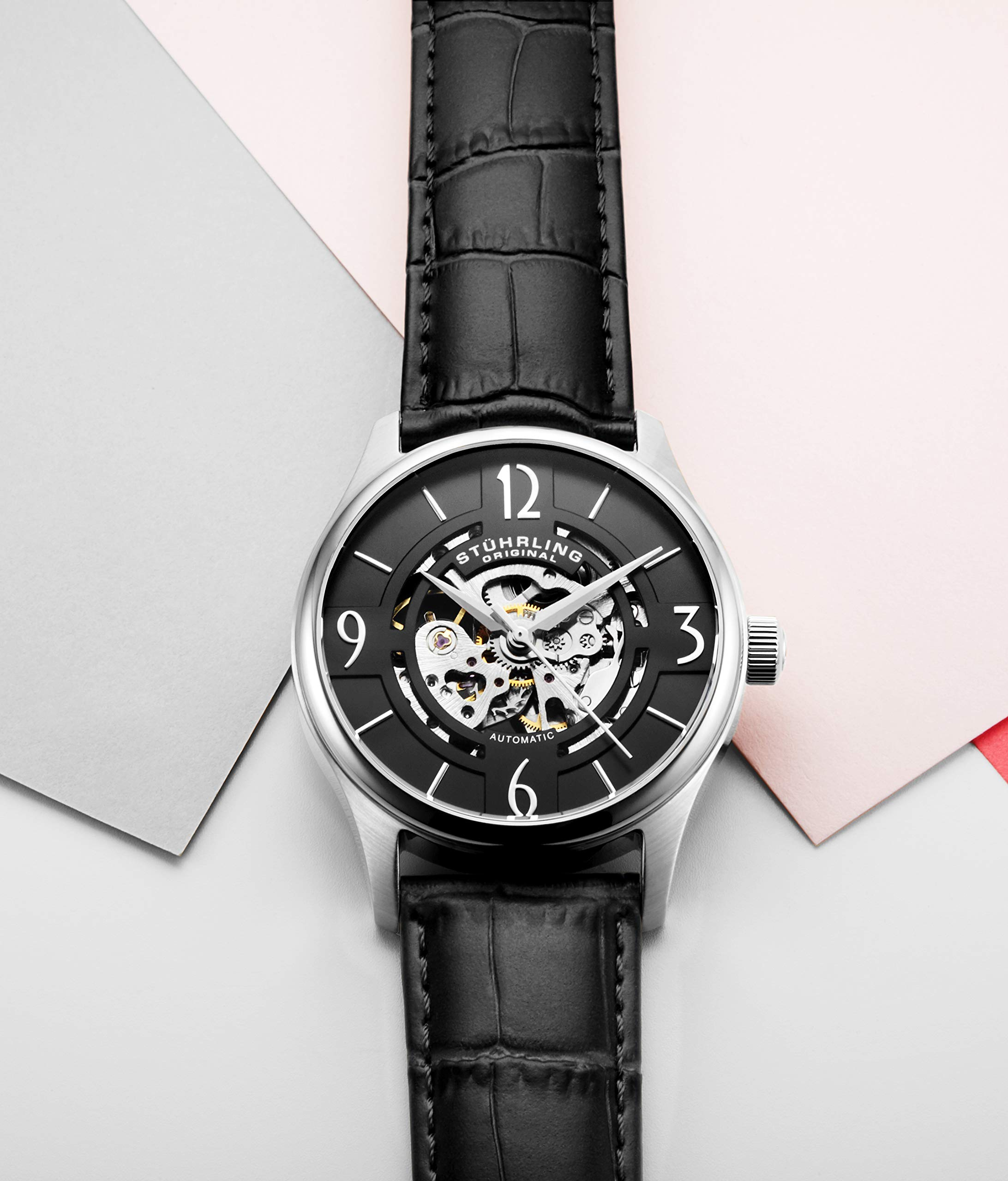 Stuhrling Original Mens''Specialty Atrium'' Skeleton Automatic Self Winding Dress Watch with Premium Leather Band by Stuhrling Original (Image #8)