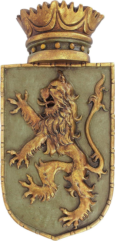Design Toscano Medieval Rampant Lion Shield Wall Sculpture