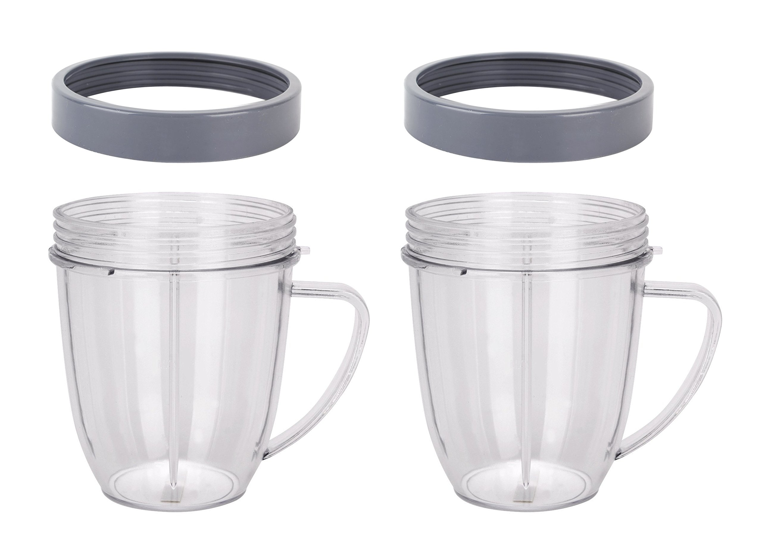Preferred Parts Replacement for Nutribullet Cups. 18 oz NutriBullet Replacement Cups with Comfort Handel and Screw off Lip Ring (Pack of 2)