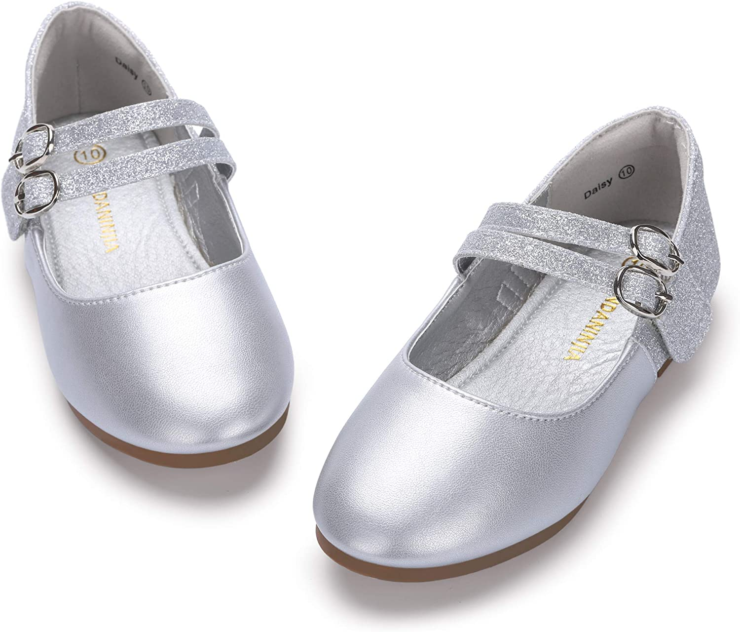 PANDANINJIA Girls Toddler//Little Kid Flora Dress Flats Shoes Pearls Bow Flower Girl Ballet Flat Mary Jane