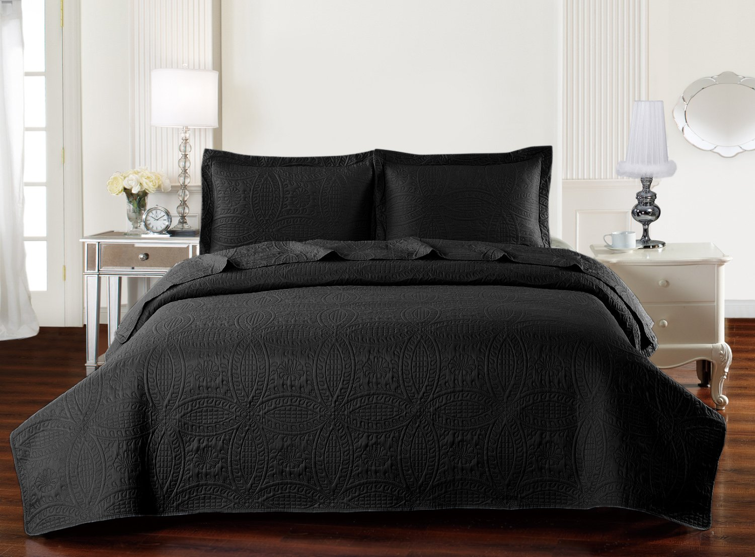 Mellanni Bedspread Coverlet Set Black - BEST QUALITY Comforter Oversized 3-Piece Quilt Set (Full/Queen, Black