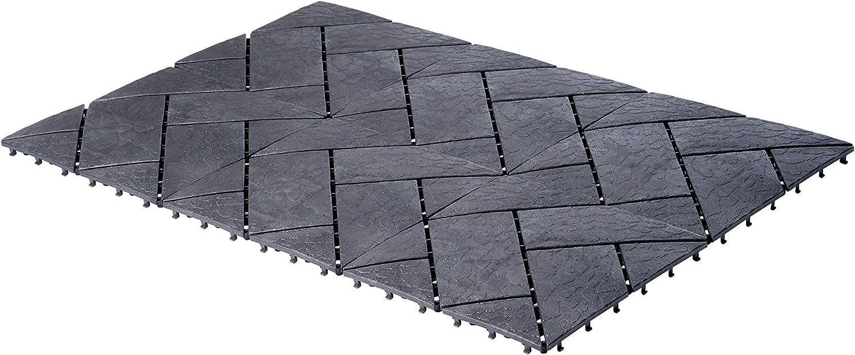 UPP® Paneles de jardín, terraza y balcón I baldosas Antideslizantes encajables   Piso a Prueba de Agua   Suelo Exterior, instalación fácil y rápida I 30 x 30 cm [24 Paneles, Gris]: