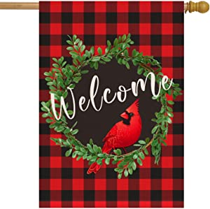 Dazonge Cardinal Christmas House Flag 28 x 40 Inch | Buffalo Check Plaid Wreath Welcome Garden Flag | Rustic Christmas Yard Decorations | Holiday Winter Outdoor Flags