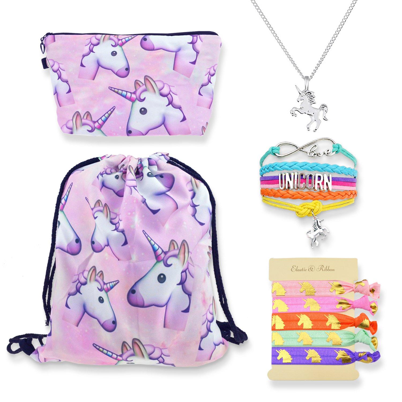 DRESHOW Unicorn Gift Sets Girls Drawstring Backpack/Necklace/Make up Bag/Key Chain/Bracelet/Hair Tie Pack 7/9