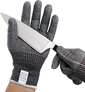 Cut Resistant Gloves for Kitchen, ANSI Level 5 Protection, 1 Pair Ambidextrous Safety Gloves for Oyster Shucking, Meat Cutting, Wood Carving, Fish Processing, Mandolin Slicing, Food Grade, Small