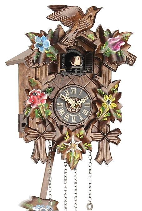 Cuco Reloj de cuco Reloj Real Madera Nuevo batteriebetriebenes quartzwerk Cuco llamada de 5 hojas acuosa