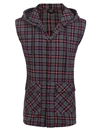 bee40d69abfb COOFANDY Mens Casual Vest Hoodie Flannel Hipster Button Down Plaid  Sleeveless Hoodie