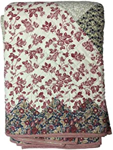 On View Home Classic Cotton Rich Full Quilt Navy Red Beige Pieced Floral Pattern