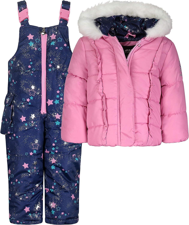 Pink//Navy Shooting Stars Print 12MO LONDON FOG Baby Girls Snowsuit with Snowbib and Puffer Jacket