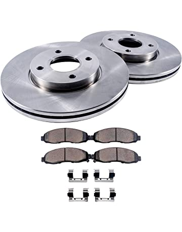 Detroit Axle - 4-Lug Front Brake Rotors & Ceramic Pads w/Clips Hardware
