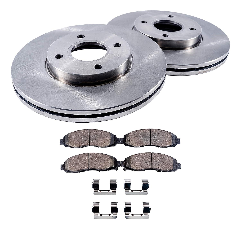 Detroit Axle - (2) Front Disc Brake Rotors and (2) Ceramic Brake Pads w/Clips Hardware Kit - Premium GRADE