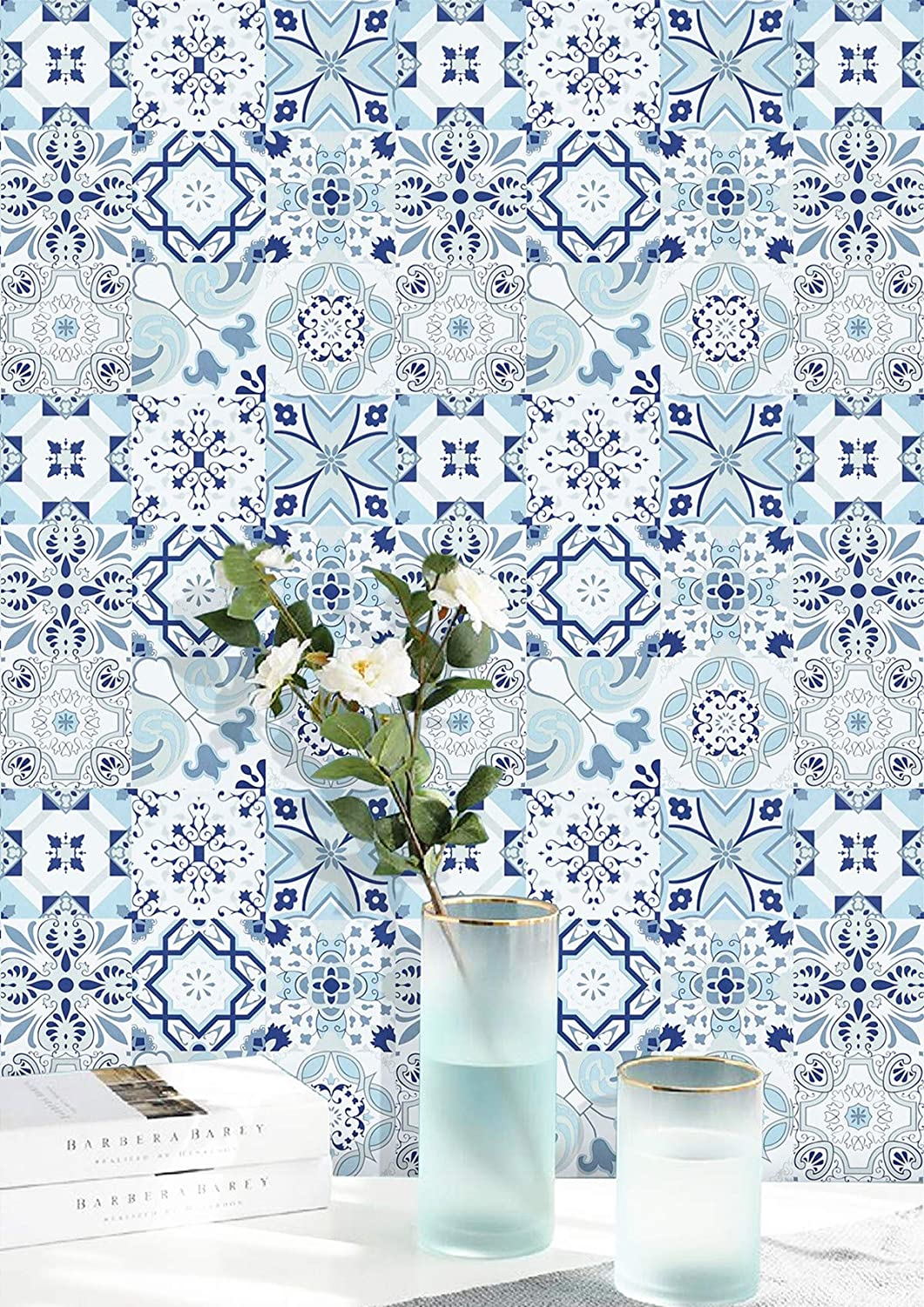 Wallpaper Blue Flower Contact Paper White Tile Peel and Stick Wallpaper Removable Wall Paper Waterproof Wall Covering Embossed Self Adhesive Wallpaper Shelf Drawer Liner Vinyl Decal Roll17.7''x78.7''