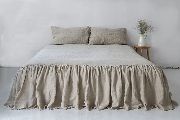 Linen Coverlet. Natural Linen Dust Ruffle. Queen Size. King