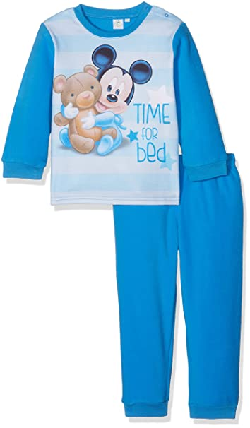 Disney Mickey Mouse Time For Bed, Pelele para Dormir para Bebés, Azul (Blue