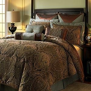 Hampton Hill Canovia Springs King Size Bed Comforter Duvet 2-In-1 Set Bed In A Bag - Teal, Brown , Jacquard Medallion Damask – 10 Piece Bedding Sets – Ultra Soft Microfiber Bedroom Comforters