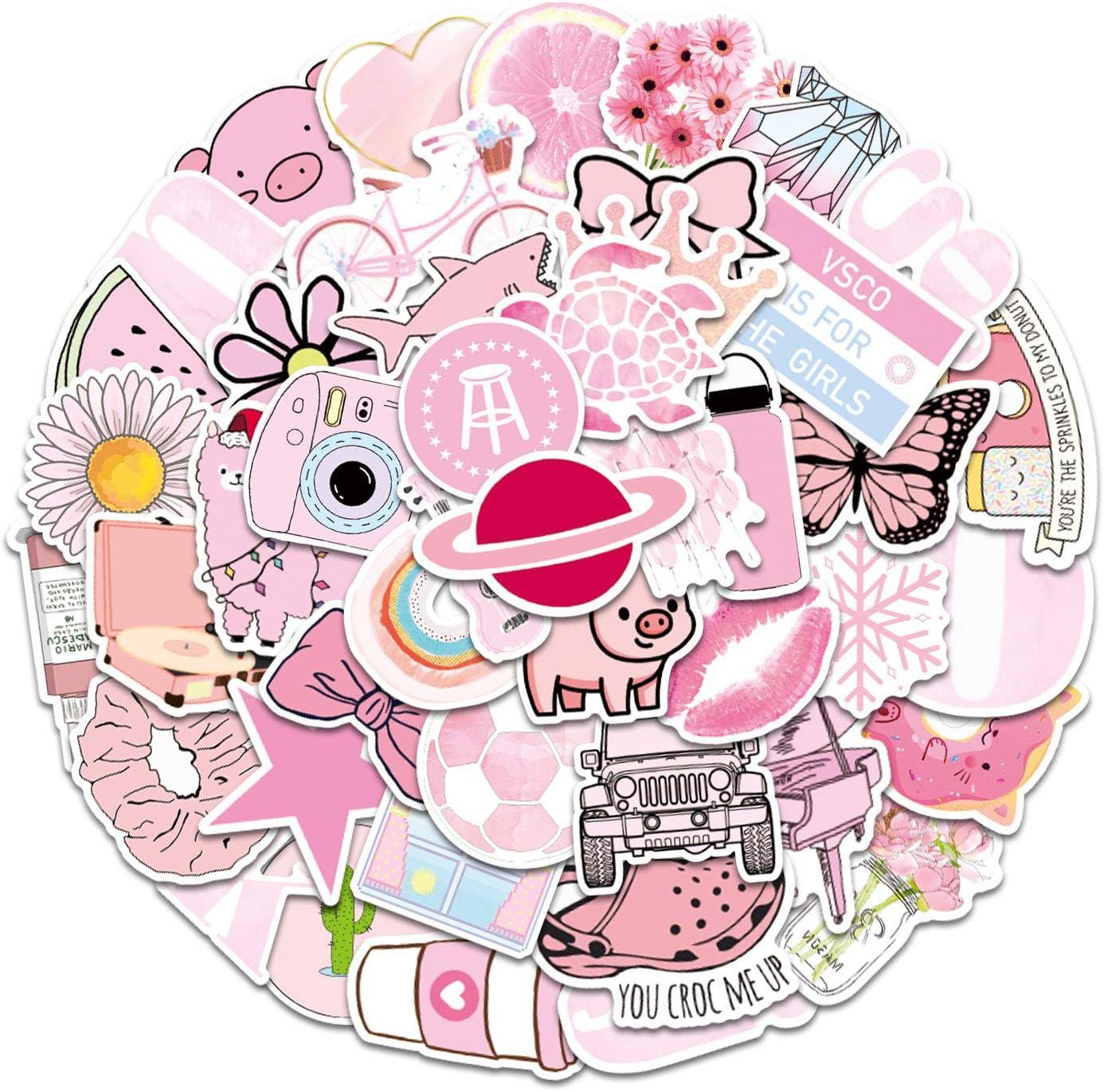 100 Pcs Pink VSCO Stickers for Hydroflask - Waterproof Vinyl Pastel Stickers for Laptop Hydroflask Water Bottles VSCO Girl(E-131)