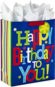 "Hallmark 15"" Extra Large Gift Bag with Tissue Paper for Birthday (Happy Birthday to You!)"