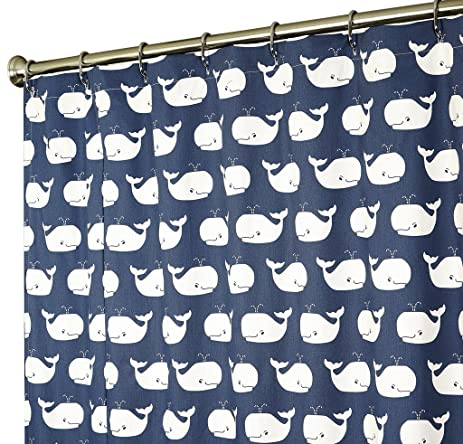 Extra Long Shower Curtain Nautical Shower Curtains Whale Shower Curtain  Fabric Navy Blue 84 Inch