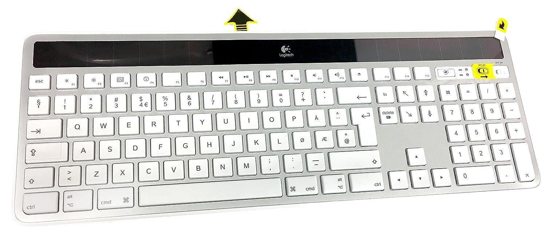Logitech Wireless Solar K750 Radio Transfer PC / Mac Keyboard Norwegian  (Norsk) Layout- Silver