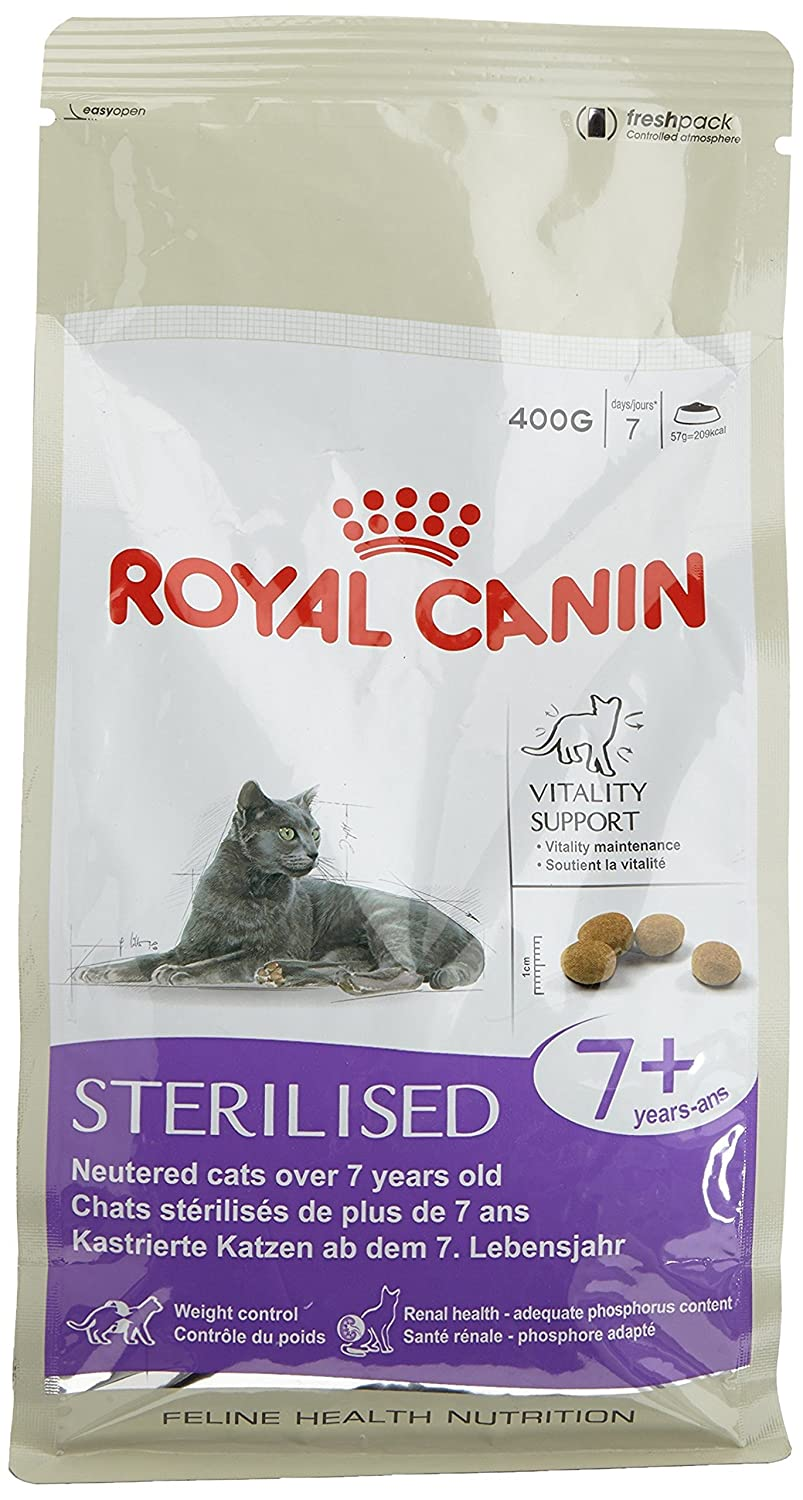 Royal Canin Comida para gatos Sterilised +7 400 Gr: Amazon.es: Productos para mascotas