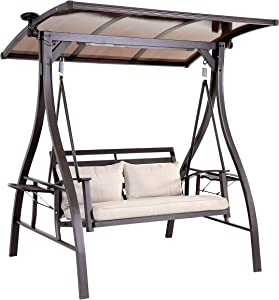 2-Seat Porch Swings, Outdoor Swings Clearance for Patio, Garden, Backyard, Balcony with Adjustable Canopy, Solar Lights, 2 Cushions and Pillows, 2 Foldable Side Table