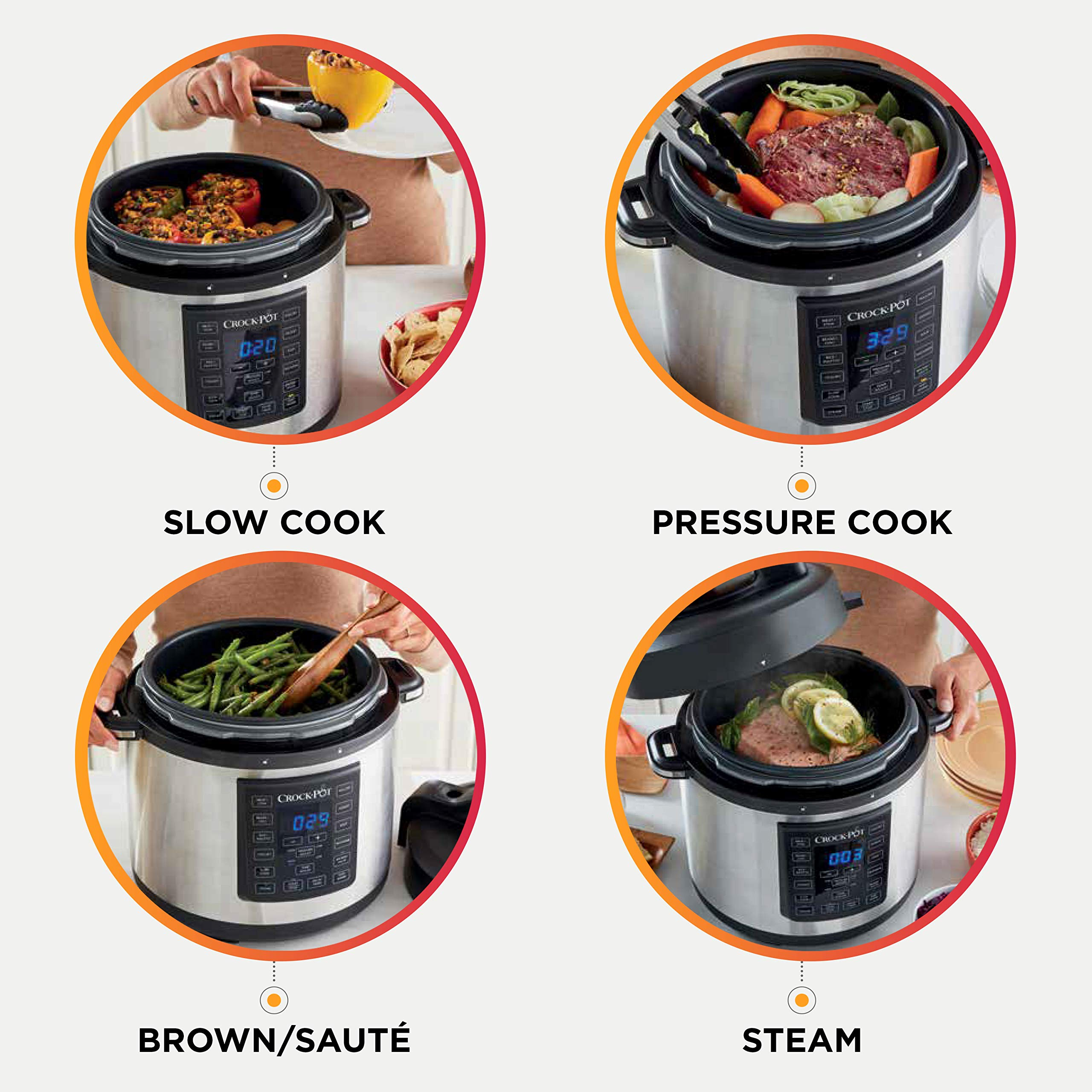 Crock-Pot 6 Qt 8-in-1 Multi-Use Express Crock Programmable Slow Cooker, Pressure Cooker, Sauté, and Steamer, Stainless Steel (SCCPPC600-V1) by Crock-Pot (Image #5)
