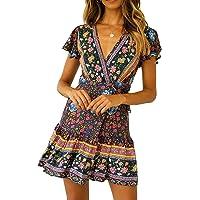 R.Vivimos Women's Summer Short Sleeve Casual Bohemian Beach Ruffle Floral Print Bow Tie Short Sun Dress
