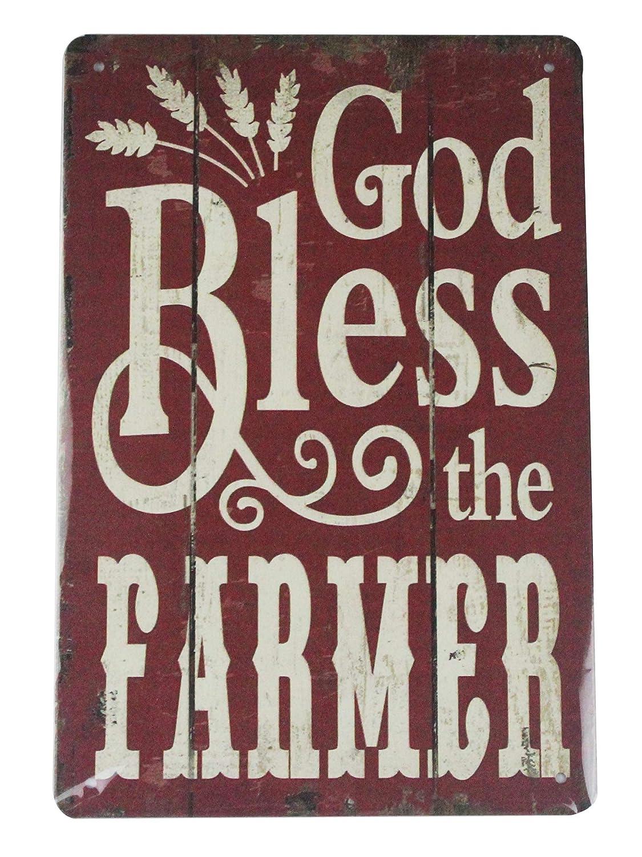 Amazon.com: God Bless The Farmer tin Metal Sign Home ...