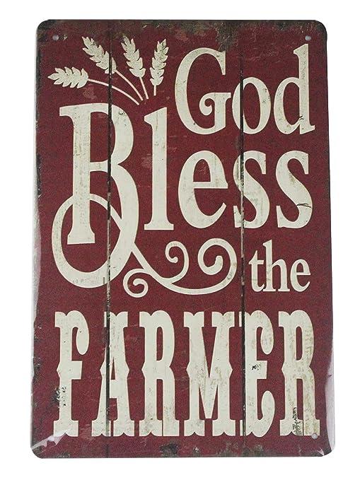 Amazon Com God Bless The Farmer Tin Metal Sign Home