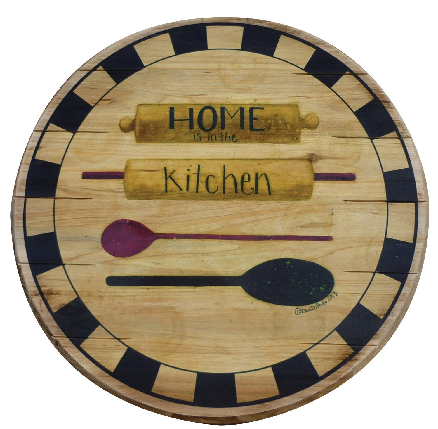 Boston Warehouse Hand Crafted Wood Lazy Susan and Turntable, Home Is In The Kitchen