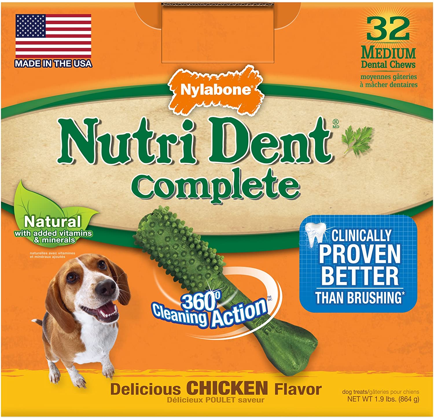 Nylabone Nutri Dent Complete Dog Treat Bones for Medium Dogs up to 35 Pounds