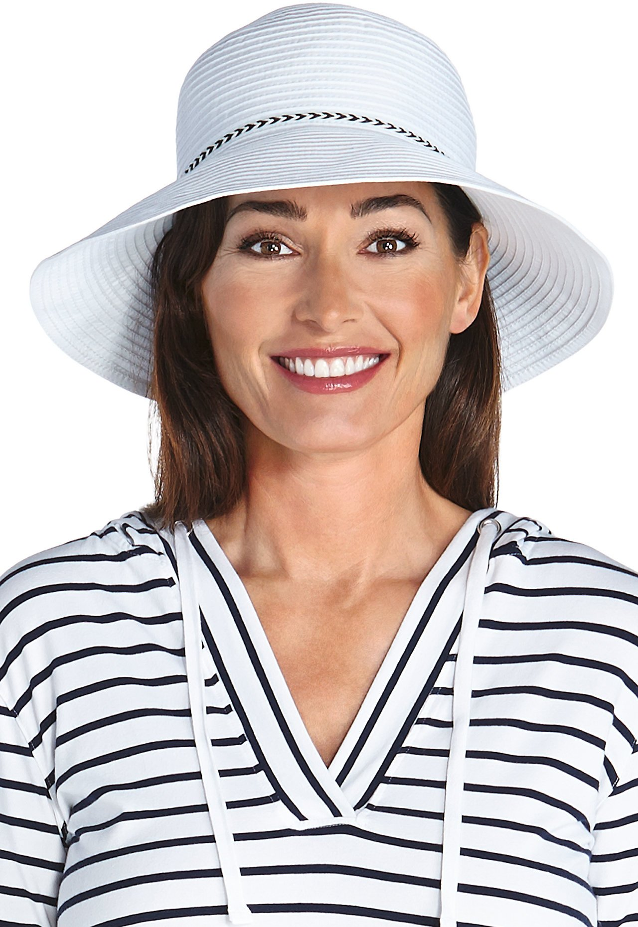 Coolibar UPF 50+ Women's Audrey Ribbon Bucket Hat - Sun Protective (One Size- White)