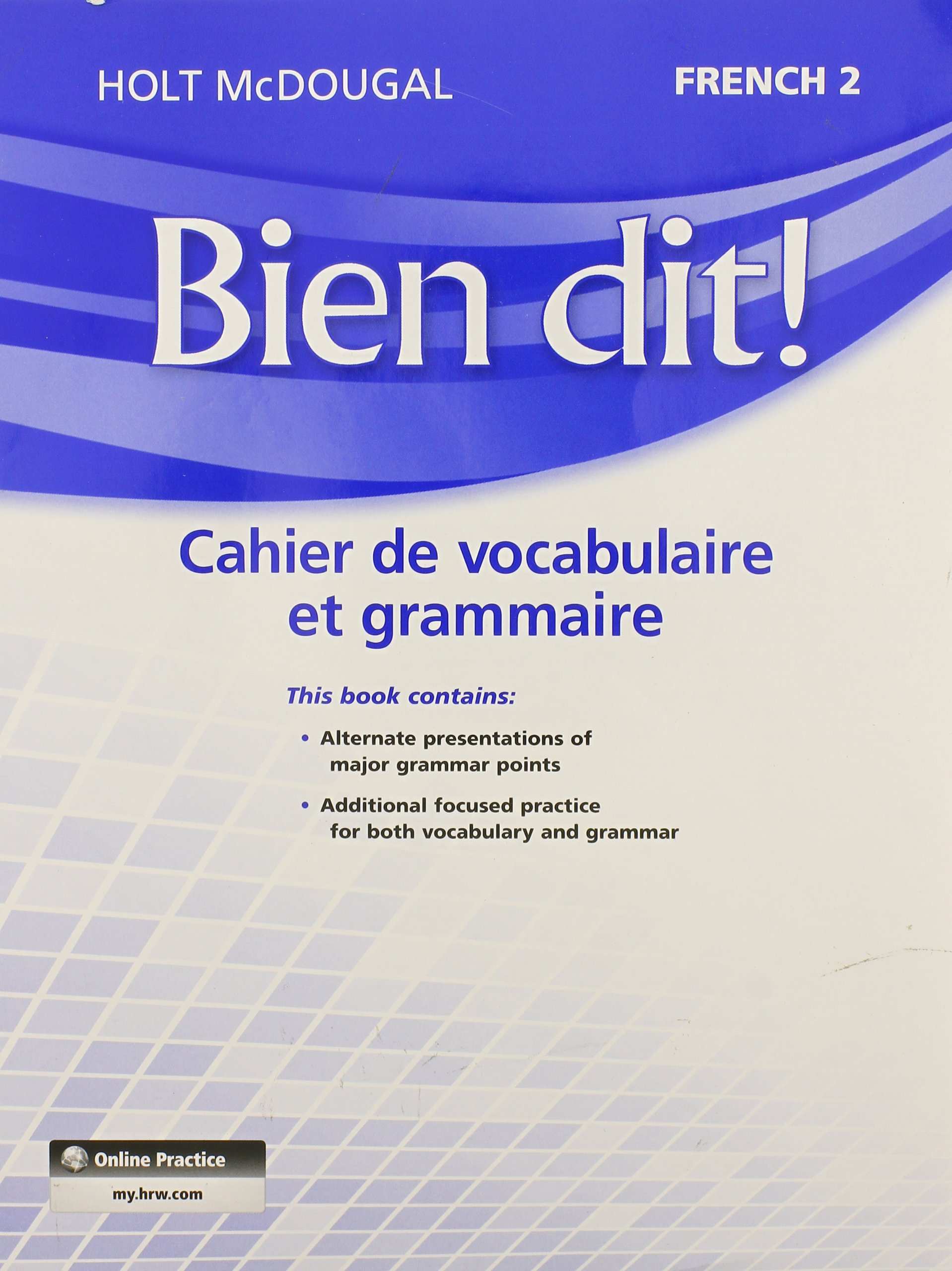 Amazon Bien dit Vocabulary and Grammar Workbook Student – Holt Mcdougal Worksheet Answers