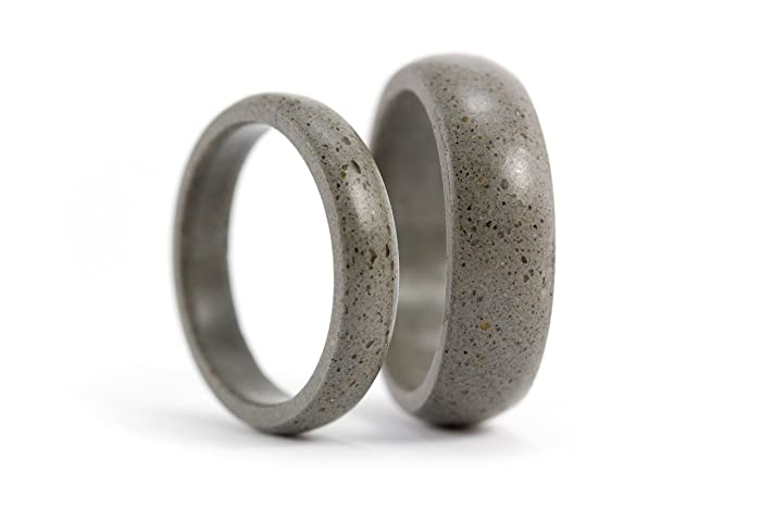 Amazoncom Set of two gray concrete wedding bands Unique and